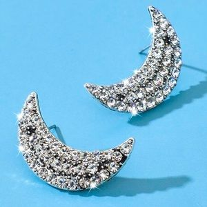 2/$20!  Silver Crystal Pave Crescent Moon Earrings